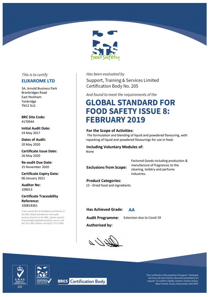 BRCGS Food CV Certification Extension Certificate