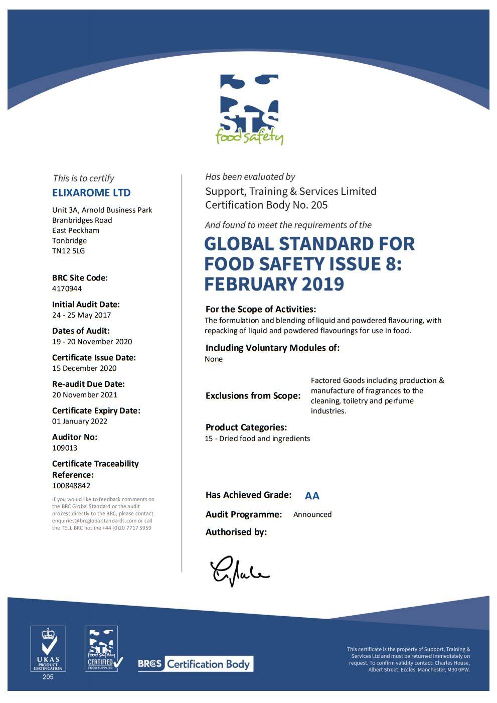 BRCGS Food CV Certification Extension Certificate